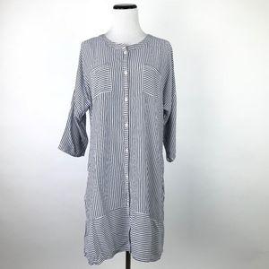 Ellen Tracy Striped Mini Shirt Dress #1672